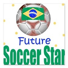 Future Soccer Star Brazil Baby Square Car Magnet