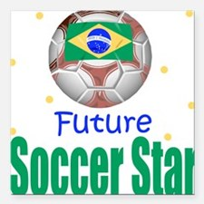 Future Soccer Star Brazil Baby Square Car Magnet