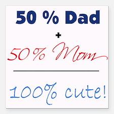 """""""100% Cute"""" - Blue Square Car Magnet"""