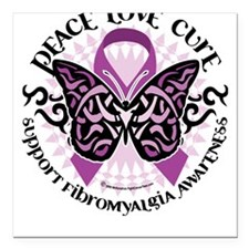 Fibromyalgia Butterfly Tribal Square Car Magnet