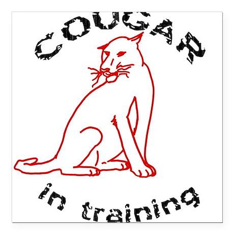 Cougar In Training Square Car Magnet