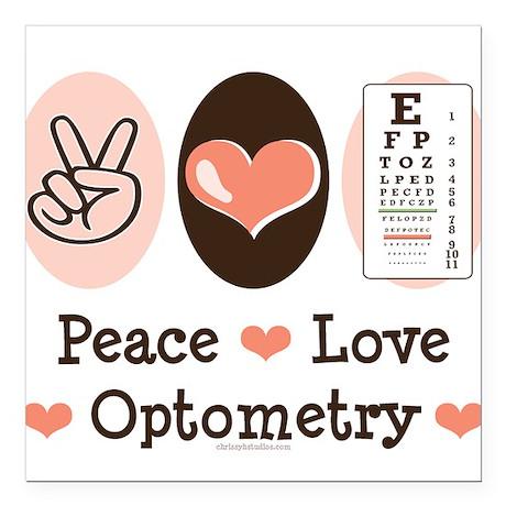 Peace Love Optometry Eye Chart Square Car Magnet