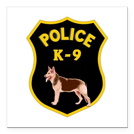 "K9 Police Officers Square Car Magnet 3"" x 3"""