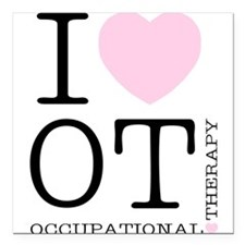 I Heart OT - Women's Colored Square Car Magnet