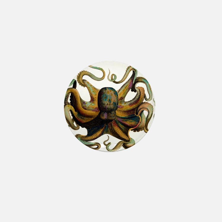 Colorful Octopus Swirling Tentacles Mini Button