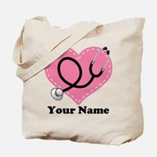 Personalized Nurse Heart Tote Bag