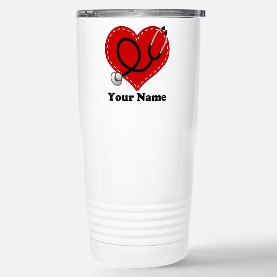 Personalized Nurse Heart Stainless Steel Travel Mu