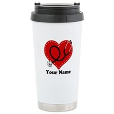 Personalized Nurse Heart Thermos Mug