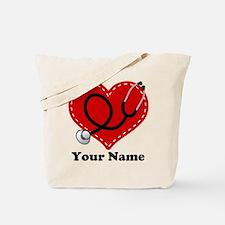 Personalized Nurse Heart Tote Bag