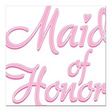 Amore Maid Honor Pink Square Car Magnet
