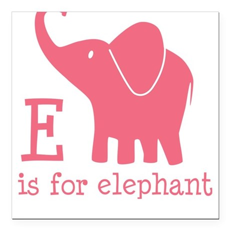 E is for Elephant Square Car Magnet