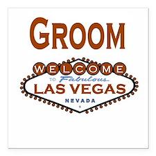 Cool Copper Las Vegas Groom Square Car Magnet