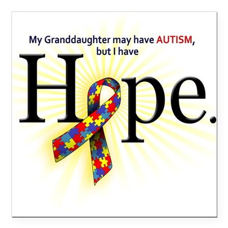 Autism HOPE Ribbon (Granddaughter) Square Car Magn
