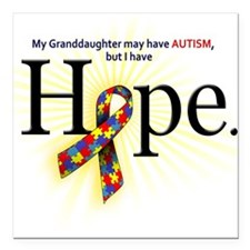 Autism HOPE Ribbon (Granddaughter) Square Car Magn