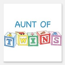 Aunt of Twins Blocks Square Car Magnet