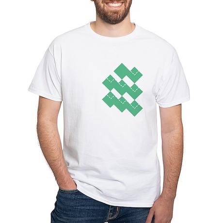 Green Argyle White T-Shirt