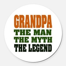 Grandpa the Legend Round Car Magnet