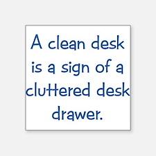 "cleandesk dark.png Square Sticker 3"" x 3"""