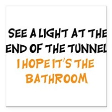 """end of the tunnel dark.png Square Car Magnet 3"""" x"""