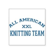 """ALL AMERICAN KNITTING.png Square Sticker 3"""" x 3"""""""