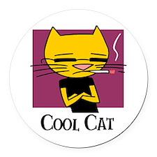 Cool Cat Round Car Magnet