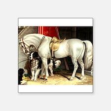 "Vintage White Horse Square Sticker 3"" x 3&quo"