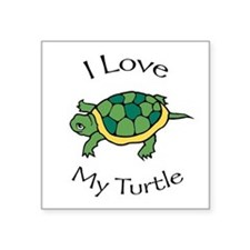 "I love my Turtle Square Sticker 3"" x 3"""