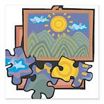 21547093puzzles.png Square Car Magnet 3
