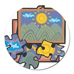 21547093puzzles.png Round Car Magnet