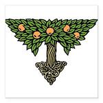 """Art Nouveau Orange Tree Square Car Magnet 3"""""""