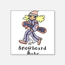 """snowboardbabe0679h1527.png Square Sticker 3"""" x 3"""""""