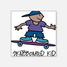 "32196147skateboardkid.png Square Sticker 3"" x 3"""