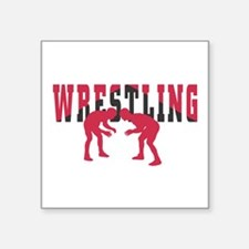 "Wrestling 2 Square Sticker 3"" x 3"""