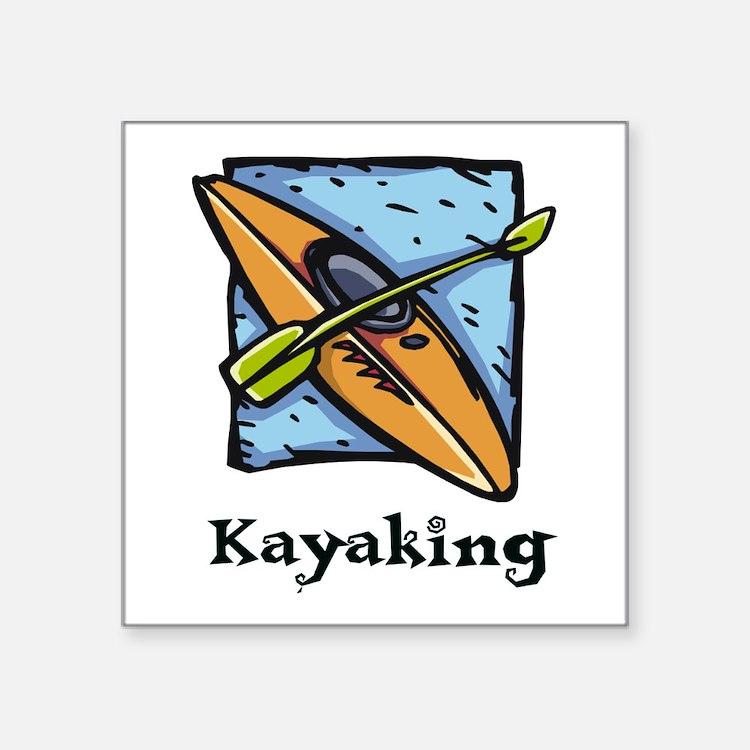 """Kayaking Square Sticker 3"""" x 3"""""""