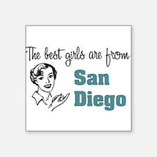 """coolestgirlsSanDiego.png Square Sticker 3"""" x 3"""""""