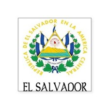 "El_Salvador_COA 2 DARK.png Square Sticker 3"" x 3"""