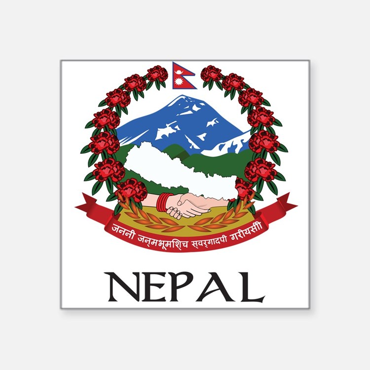 """Coat_of_arms_of_Nepal 2 DARK.png Square Sticker 3"""""""
