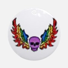 PURPLES SKULL-RAINBOW WINGS Ornament (Round)