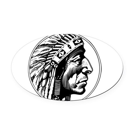 Indian Head Oval Car Magnet