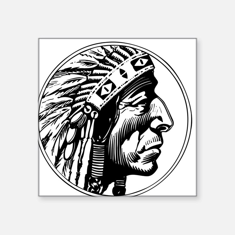 "Indian Head Square Sticker 3"" x 3"""