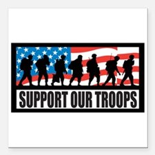 Support our troops - Infantry Square Car Magnet 3&