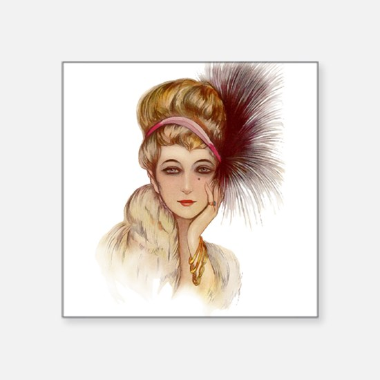"hatgirl3b.png Square Sticker 3"" x 3"""