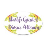 Worlds greatest divorce attorney.png Oval Car Magn