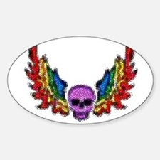 PURPLES SKULL-RAINBOW WINGS Oval Stickers