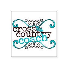 "Cross Country Coach Square Sticker 3"" x 3"""