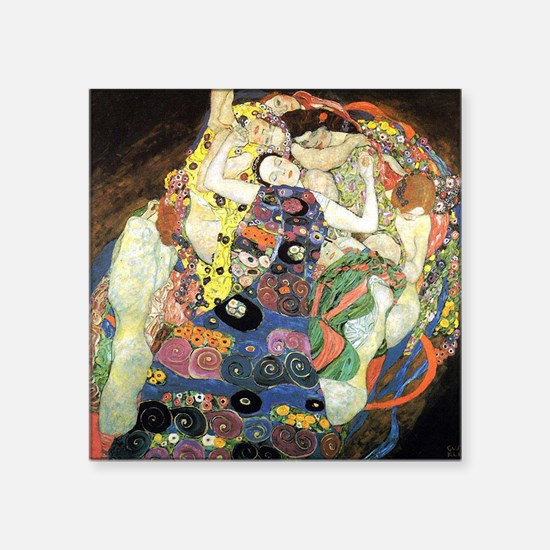 "Gustav Klimt Virgin Square Sticker 3"" x 3"""