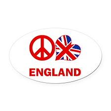 Peace Love England Oval Car Magnet