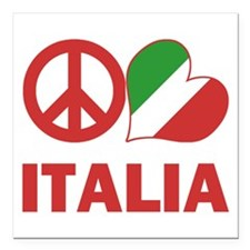 """Peace Love Italy Square Car Magnet 3"""" x 3"""""""