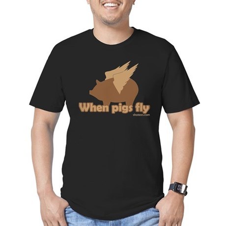 When Pigs Fly Men's Fitted T-Shirt (dark)