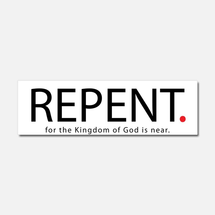 Repent Car Magnet 10 x 3